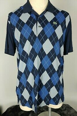 LACOSTE Mens 7 (XL) Argyle Polo Shirt Blue Gray Devanlay Short Sleeve EUC