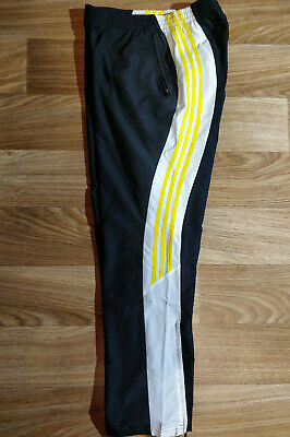 Training Baggy Pants (Adidas Womens Track Pants Trousers Training Black Yellow Lightweight Baggy)