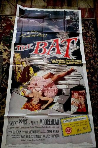 The Bat 3sh movie poster HORROR Vincent Price AGNES MOOREHEAD Lenita Lane 1959