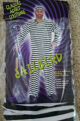 Convict Halloween Costume Mens (CONVICT PRISONER Jailbird HALLOWEEN COSTUME Size ADULT Mens 180 TO 190)