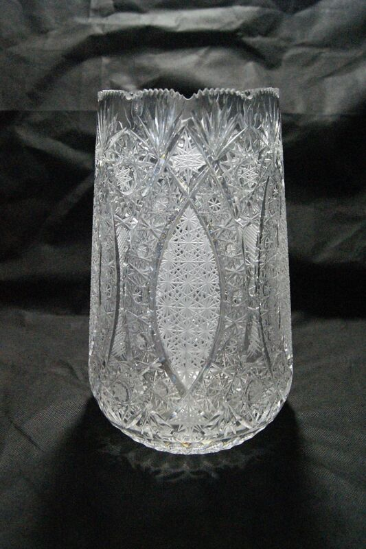 """Stunning Bohemia Czech Bohemian Hand Cut Crystal Queen Lace Vase Large 11"""" RARE"""