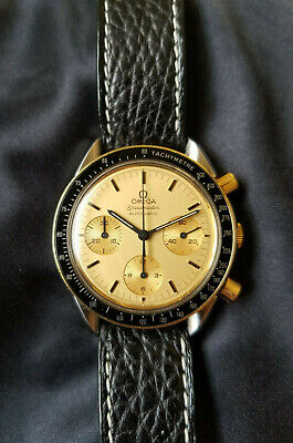 Omega Speedmaster Reduced Steel and Gold Champagne Dial Chronograph 175.0032