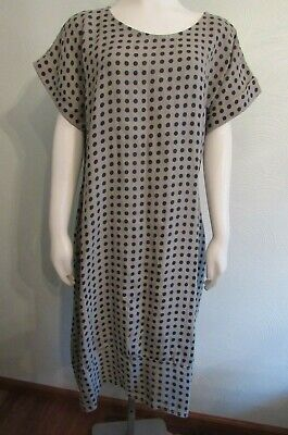 ROSEMARINE Pure Linen Polka Dot Cap Sleeve Dress Taupe/Black Size XL NWT Perfect Polka Dot Dress