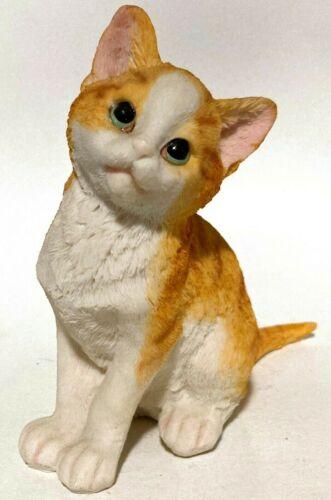"Kitten Cat Figurine 5.5"" tall, Yellow Striped, White, Green Eyes"