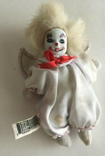 "Vintage Halloween Mini Clown Porcelain Head Cloth Body 5"" Collectibles Box 2-14"