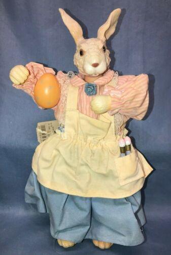 Vtg Easter Rabbit Bunny Girl Doll Figurine Decor Apron Dress Paint Brush Egg
