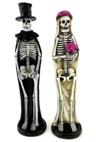 """Day Of The Dead Bride and Groom Skeleton Couple Skull Statue Figurines 11.5"""""""