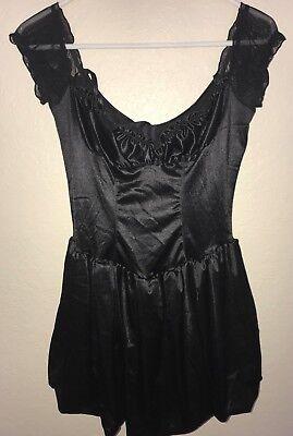 women size S/M black FREDERICKS HOLLYWOOD SEXY FUN WEAR DRESS bow HALLOWEEN wow