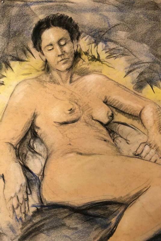 Reclining Woman Nude Original Pastel on Paper by Artist Joseph Rentscher