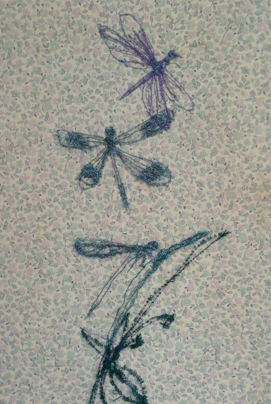 Dragonfly Embroidery Picture on Vintage floral fabric