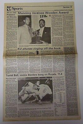 1988 Kansas Jayhawks Basketball - Vintage 1988 KANSAS JAYHAWKS NCAA Basketball Champs DANNY MANNING WOODEN AWARD