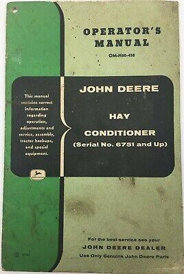 John Deere Hay Conditioner Sn 6751 Up Operators Manual Om-h60-458 Rare Vg