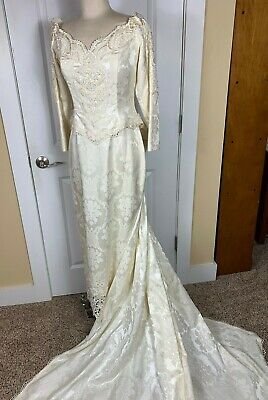Jessica McClintock Wedding Dress Gown Victorian Lace Off Shoulder Ivory Size 11
