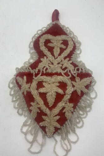 Beautiful Antique Victorian Beaded Wall Pocket