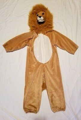 Boy Girl LION Halloween Costume One Piece Hooded Lion Face / Mane Great Cond! ()
