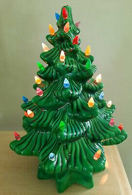 "Vintage Light Up Ceramic Christmas Tree Multi-Color Bulbs w/ Base 14"" High"