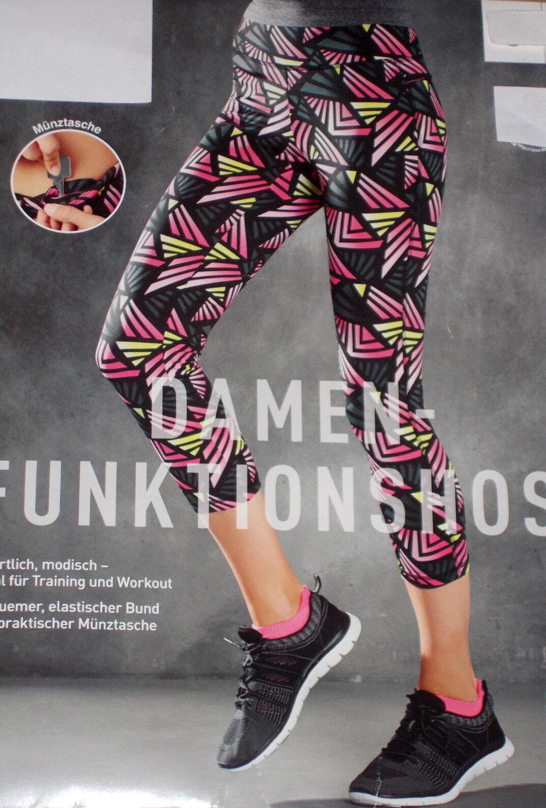 Damen Stretch FUNKTIONSHOSE 7/8 Länge Fitnesshose Laufhose Gr.S L NEU