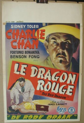 THE RED DRAGON 1945 Original Release Belgian Poster, Charlie Chan, Sidney Toler