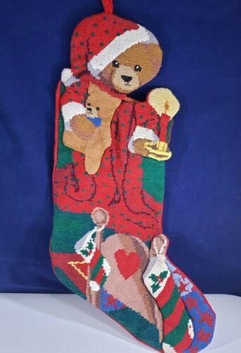 Vintage Needlepoint Embroidered Velvet Christmas Red Bear Candle UNIQUE