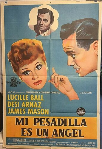 """I LOVE LUCY/LUCILLE BALL RARE 1956 ARGENTINEAN """"FOREVER DARLING"""" 29""""X43"""" POSTER!"""