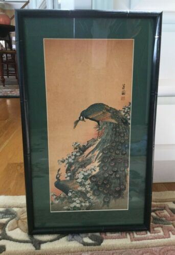 Antique Japanese Woodblock Print Courting Peacocks