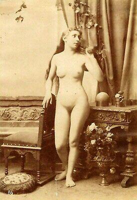 1890s Nude Model~Long Hair~Antique Albumen Photograph~Vintage French Erotica