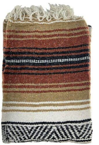 """Authentic Mexican Falsa Blanket Hand Woven Yoga Mat Blanket 74"""" x 51"""""""