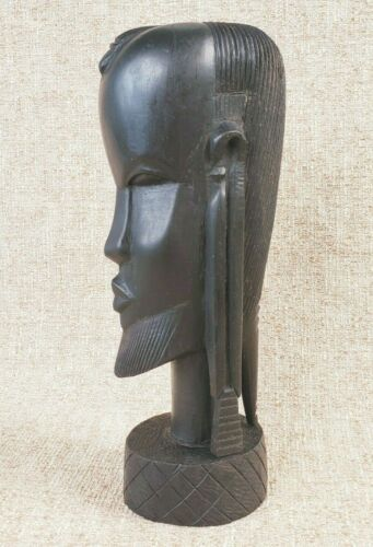 """Vintage Ebony Wood Sculpture African Woman Head Hand-Carved Tribal 9"""" Statue"""