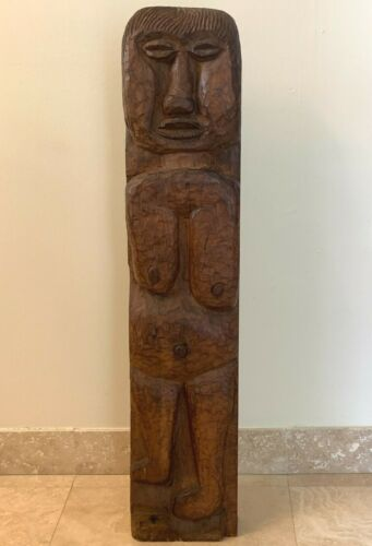 Stunning Large Carved Wood Figural Totem Totemic Sculpture Signed by Artist