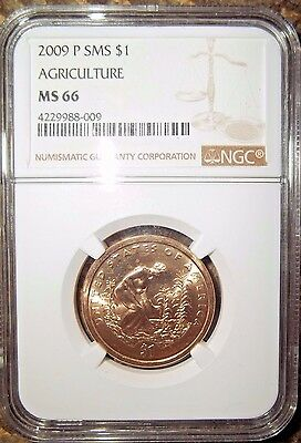 2009 P SMS SACAGAWEA $1 AGRICULTURE NGC MS66 ONE DOLLAR
