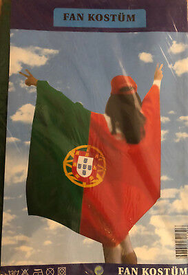 Portugal Fan Kostüm Länder Fahne Flagge Flag WM EM Fussball - Sport Fan Kostüm