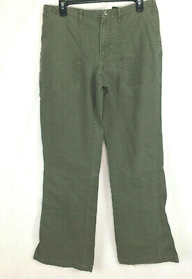 Abercrombie Womens Military Uniform sz 8 Long Olive Green Khaki Cargo Pants