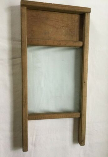 """Antique Small Wood & Glass Lingerie Washboard - Victory Brand - 17 3/4"""" Long"""