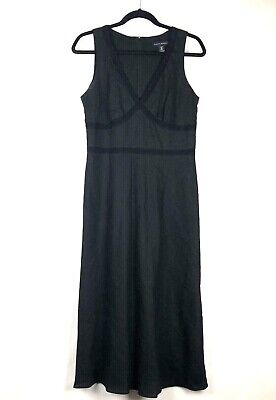Banana Republic Stretch Black Linen Blend Sleeveless size 8 Midi Women's Dress