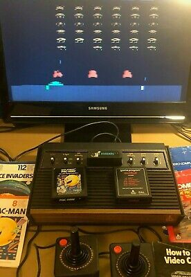 Atari 2600 Console & 3 Games & 2 Controllers - Vintage PAC-MAN Spae Invaders