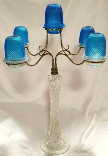 Stunning Tall Blue S. Clarke Richly Cut Five Arm Candelabra Fairy Lamp/Light
