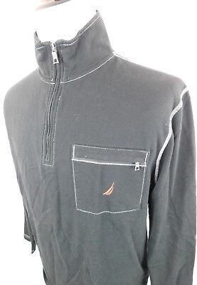 Nautica Sailing Men's Long Sleeve Casual Shirt 1/2 Zip Black size Large L Cotton