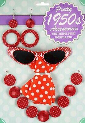 5 teiliges 50er Jahre Damen Kostüm Zubehör gepunktet rot/weiss - 50er Jahre Kostüm Zubehör