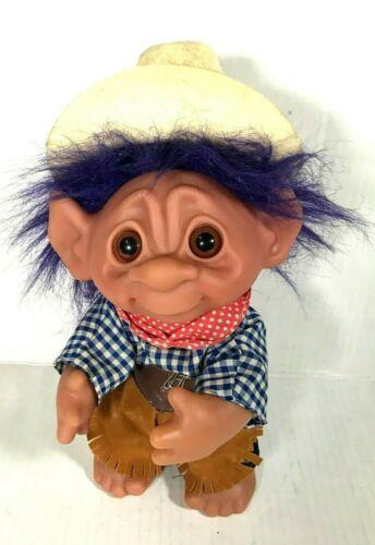 "RARE 1977 Vintage DAM Norfon 9"" Rawhide Cowboy Troll Doll Denmark Purple hair"