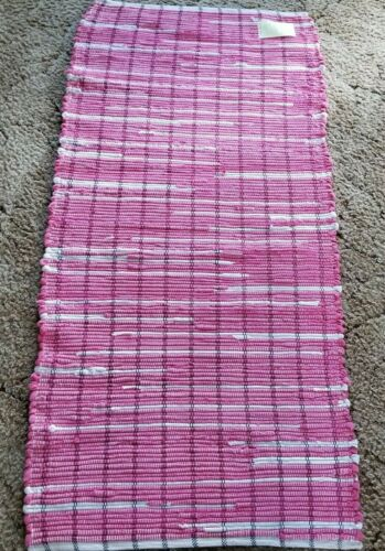 "Rose Pink & White Woven Rag Rug Hand Loomed 48"" x 23"" New USA Made Washable"