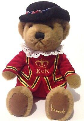 "Harrods Knightsbridge Beefeater Teddy Bear 11"" Plush London Royal Guard Sitting"