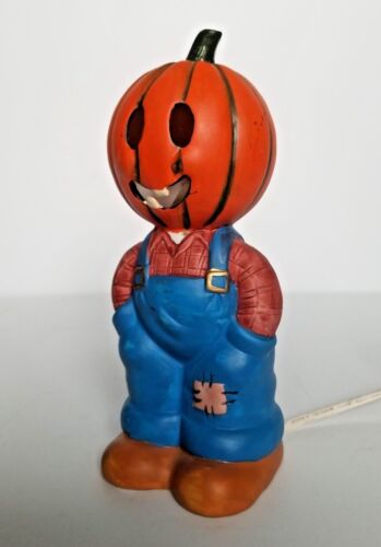 Vintage Schmid Jacko and Friends Pumpkin Head Boy Halloween Harvest Lamp Light