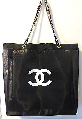 Chanel Paris Mesh Faux Leather Chain Tote Bag Gift New