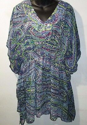 - Top Fit 1X 2X Plus Blue Purple Paisley Sequin Bead Long Tunic Caftan NWT 0170 EE