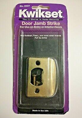Kwikset Door Jamb Strike Solid Brass Door Plate Full Lip Security #3437 (Lip Strike Plates Solid Brass)