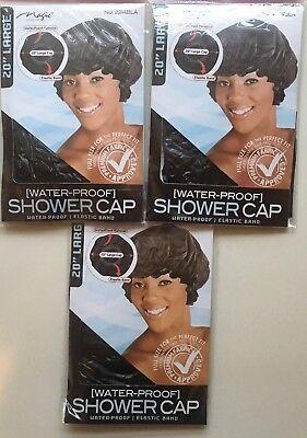 "3 Pieces 20"" Large Shower Caps BLACK Waterproof Elastic Band Magic Brand"