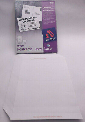 Avery 5389 White 4 X 6 Postcards - 72 Cards 36 Sheets - Laser Index Card 2up