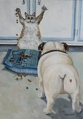 Cat  Bulldog dog food standoff  ACEO print from original oil  by Joy Campbell