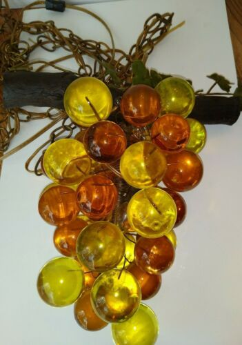 Vintage Mid Cent Modern Amber Gold Yellow Lucite Grape Cluster Swag Lamp Works