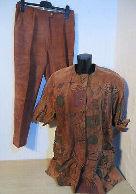 Robena Ledermoden ° Hosenanzug Leder Gr. 46 braun Damen Kleidung Sakko + Hose